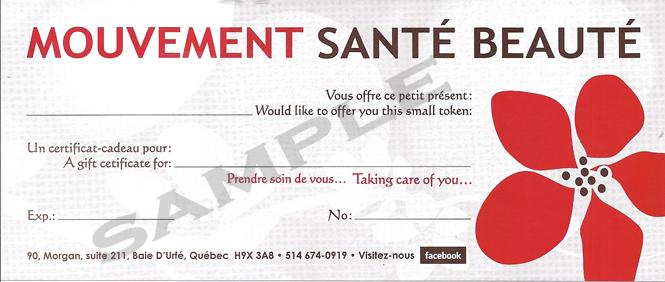 Mouvement Santé Beauté Gift Certificate